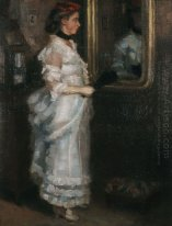 Lady in the mirror with a fan