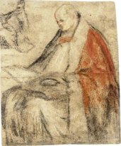 Study of a Seated Bishop Reading a Book on his Lap
