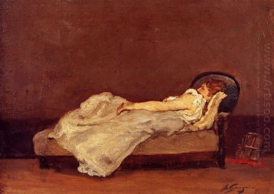 mette asleep on a sofa 1875