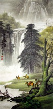 Tree and river - Chinese painting