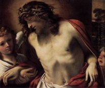 christ wearing the crown of thorns supported by angels 1587