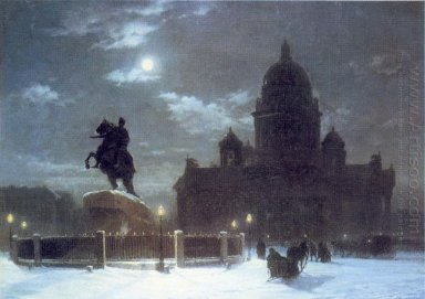 view of the isaac cathedral at moonlight night 1869 1