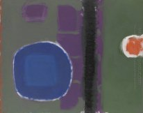 Green and Purple Painting with Blue Disc: May 1960