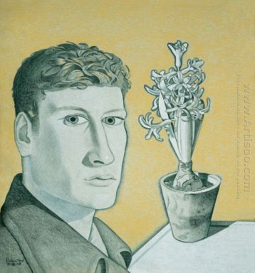 Self Portrait With Hyacinth In A Pot