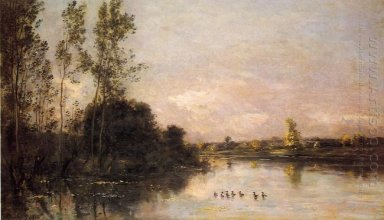 Ducklings In A River Landscape 1874