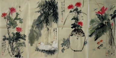 Flowers - FourInOne - Chinese Painting