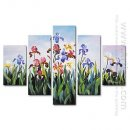 Hand-painted Oil Painting Floral Oversized Wide - Set of 5
