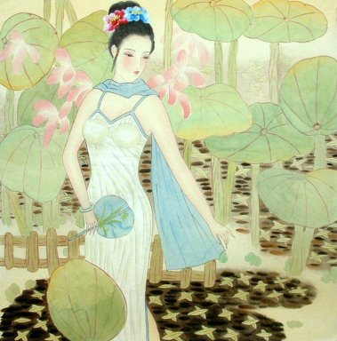 Beautiful lady, Lotus - Chinese Painting
