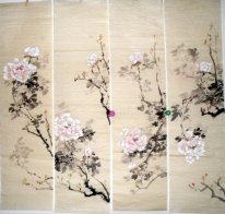 Flowers(Four Screens) - Chinese painting
