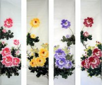 Peony(Four Screens) - Chinese Painting