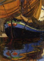 sailing boat with reflection in the water 1908
