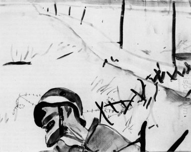 the dead soldier against the backdrop of the broken fence 1934