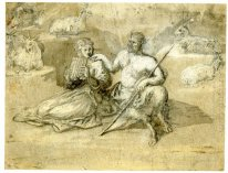 Drawing Of A Satyr A Girl And Goats