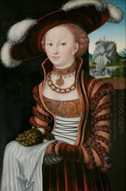 Portrait Of A Young Woman Holding Grapes And Apples 1528