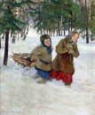 Children Carrying The Wood In The Snow Winter