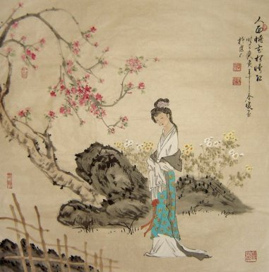 Beautiful Lady, Peach blossom - Chinese Painting