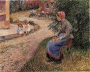 a servant seated in the garden at eragny 1884