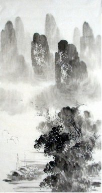 Mountain, Boat - Chinese Painting