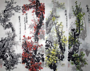 Plum Blossom - FourInone - Chinese Painting