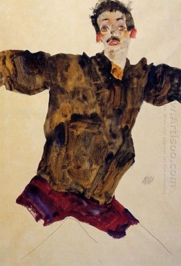 self portrait with outstretched arms 1911