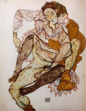 seated couple egon and edith schiele 1915