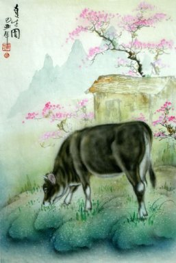 Cow-Peach blossom - Chinese Painting