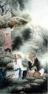 Old man, children-Chinese Painting