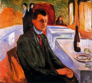 Self Portrait With Bottle Of Wine 1906