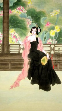 The girl in black - Chinese Painting