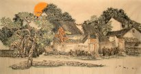 Trees, Buildings - Chinese Painting