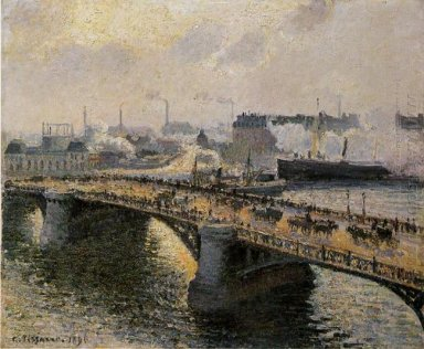 the pont boieldieu rouen sunset misty weather 1896