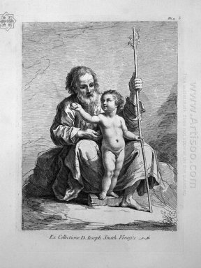 St Joseph Child Jesus Between His Knees Hands Him An Apple