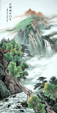 Landscape with bridge, waterfall - Chinese Painting
