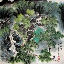 Small village in the mountains - Chinese Painting