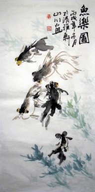 Fish-Swim happily - Chinese Painting
