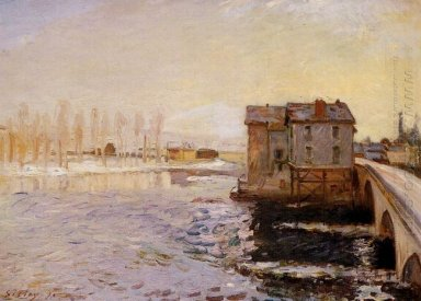 the moret bridge and mills under snow 1890