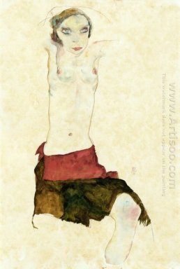 semi nude with colored skirt and raised arms 1911