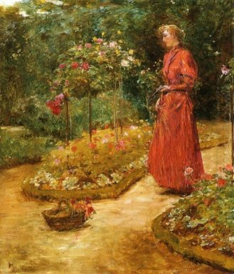 Woman Cutting Roses In A Garden 1889
