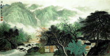 Building and Trees - Chinese Painting