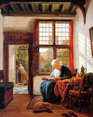 Reading old woman at window