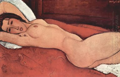 reclining nude with folded arms behind her head 1917