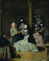 Masked Party In A Courtyard 1755