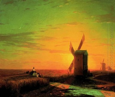 Windmills In The Ukrainian Steppe At Sunset 1862
