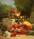 Flowers And Fruit In A Garden 1869