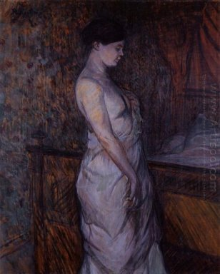 Woman In A Chemise Standing By A Bed Madame Poupoule 1899