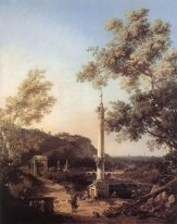 capriccio river landscape with a column