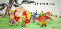 The monk are playing with the children - Chinese Painting