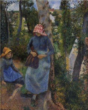 two young peasants chatting under the trees 1881