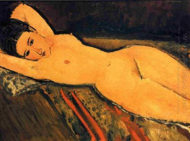 reclining nude with arms folded under her head 1916