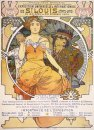 art nouveau color lithograph poster showing a seated woman clasp